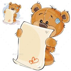 Vector illustration of a brown teddy bear misses and wrote a love letter. Print, template, design element Vector illustration of a brown teddy bear misses and wrote a love letter.