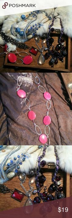 Women's fashion jewelry lot statement necklace Listing is for the 5 necklaces shown. All excellent condition. Jewelry Necklaces