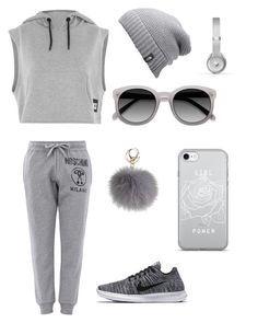 """""""Sporty Gray"""" by laurencianna on Polyvore featuring Moschino, Topshop, NIKE, Ace, The North Face and Beats by Dr. Dre"""