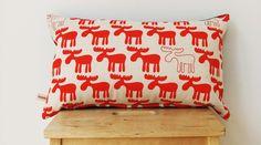 Red Moose Cushion Cover - 50cm x 30cm. $40.00, via Etsy.