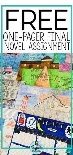 Assigning a literary one-pager project is the perfect way to wrap up a novel study in the middle school ELA or high school English class. #secondaryELA #onepager #highschoolEnglish #novelstudy