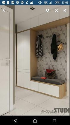 Entry Hall storage. Nice mix of wood and white.