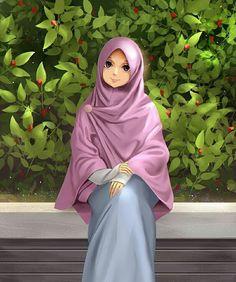 Image may contain: 1 person Cute Muslim Couples, Muslim Girls, Anime Art Girl, Anime Girls, Cover Wattpad, Muslimah Wedding Dress, Wedding Dresses, Hijab Drawing, Islamic Cartoon