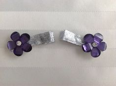 Purple Dazzle Crystal Flower Sparkly Hair Clips on Etsy, $2.50