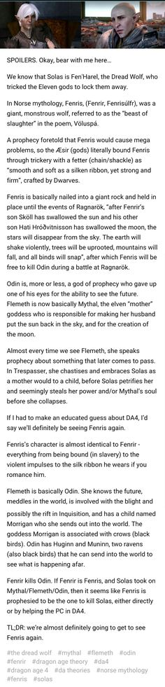 Love the theory... But since you can kill Fenris in DA2 it'd be a massive plot hole...then again they did that whole thing with Leliana
