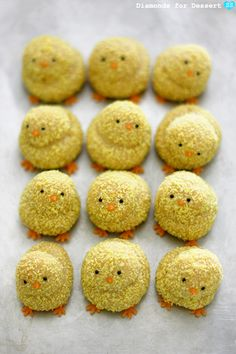 These little chicks look ready to chirp, but they are actually cookies...great for baby showers and Easter.