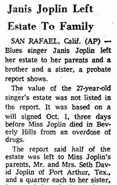 Janis Joplin Death Newspaper Article | Janis Joplin Left Estate to Family, Greensboro Daily News newspaper ...