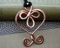 Celtic Heart and Spirals Copper Pendant by nicholasandfelice, $ 12.00