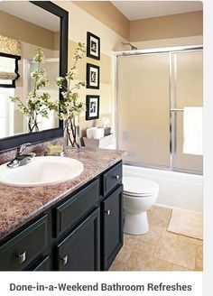 Bath Room / Budget Friendly.  Laminate counter top, paint and vinyl square tiles on floor.