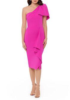 Betsy & Adam Women's Bow Shoulder Ruffle Sheath Dress | belk Mob Dresses, Fashion Dresses, Review Dresses, Formal Looks, Gowns Online, Sheath Dress, Off The Shoulder, Shoulder Dress, Party Dress
