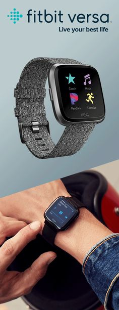 Live your best life with Fitbit Versa—an intuitive, approachable, and empowering health & fitness smartwatch. Workout Accessories, Tech Accessories, Fashion Accessories, Fitness Accessories, Addidas Shoes Mens, Latest Technology Gadgets, Futuristic Architecture, Athletic Wear, Get In Shape