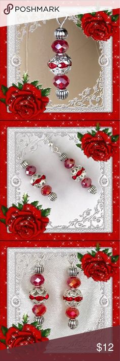 🌺🌴🌺 HANDMADE ELEGANT RUBY RED EARRINGS 🌺🌴🌺 🌺🌴🌺 Original handcrafted design:  There are two red rondell beads above and below the decorative center red bead with a pretty filigree pattern.  There are also two round silver spacers.  Perfect for a night out or with holiday attire. 🌺🌴🌺 Fashion Flair Jewelry Earrings