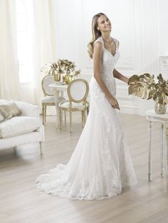 Pronovias 2014 Wedding Collection - Wedding Dress: Chic Lace Back Wedding Dress, Queen Ann floor length scalloped neckline lace wedding gown Lace Back Wedding Dress, Sheath Wedding Gown, Pronovias Wedding Dress, Wedding Dresses 2014, Tulle Wedding, Cheap Wedding Dress, Bridal Lace, Wedding Dress Styles, Bridal Dresses