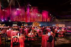 This years Emmy Awards event space consisted of red, coral, magenta and eggplant filling all four corners of the room with a flow through the event deck. Red Coral, Magenta, The Emmys, Event Decor, Eggplant, Flow, Awards, Table Settings, Deck