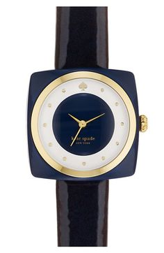 black, gold, and navy Kate Spade 'parsons' watch