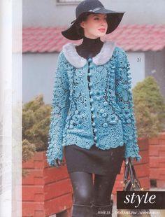 Turquoise Irish lace jacket | Irish crochet &