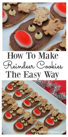 Looking to make some easy reindeer cookies for Christmas? This is the tutorial for you. No baking is required and the kids can help to (or even make themselves). They are perfect for the whole family (How To Make No Baking Cookies) Christmas Party Food, Christmas Snacks, Xmas Food, Christmas Cooking, Christmas Goodies, Holiday Treats, Holiday Recipes, Christmas Recipes, Christmas Baking For Kids