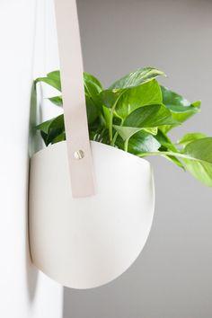 Large Flat Back Ceramic Planter leatther hanger - sculptural planter