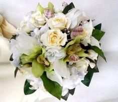 Bridal Beach Bouquet White Gardenias green Orchids by AmoreBride