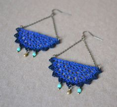 Vintage Inspired Crocheted Lace Chandelier Earrings by ginaska