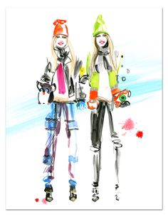 Street Style Fashion Illustration of the Beckerman Sisters by Meagan Morrison of Travel Write Draw!