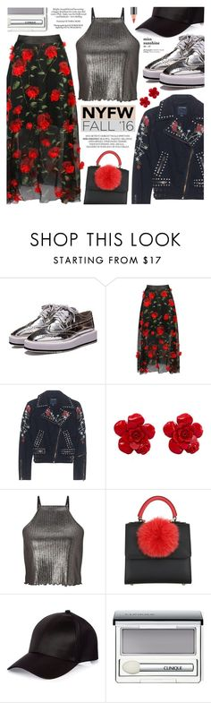 """Untitled #1601"" by noviii ❤ liked on Polyvore featuring True Religion, Chanel, Miss Selfridge, Les Petits Joueurs, River Island, Clinique, MAC Cosmetics, floral, leatherjacket and metallic"