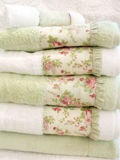 Fabric Stash Idea ~ Band of Fabric & Ruffled Edge added to towels - Easy & So Pretty!
