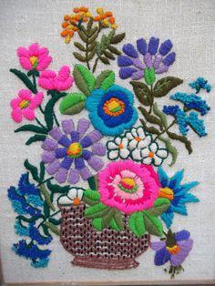 Vintage Crewel Embroidery Framed Flower Picture