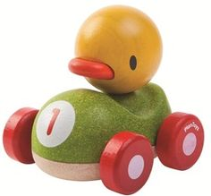 Duck Racer by Plan Toys Ready. Race all your friends in this cute duck racer new by Plan Toys. With a gentle curve design it's easy for little ones to grab and push and helps develop fine motor skills. It's easy roll wheels means you' Baby Toys, Kids Toys, Children's Toys, Toddler Toys, Baby Easter Basket, Push Toys, Curve Design, Non Toxic Paint, Project Nursery