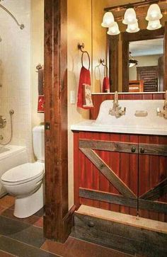 Picturesque Western Homes With Rustic Vibes - COWGIRL Magazine - I must have good memories of washing my hands at school, I love the old open white sinks. Source: Picturesque Western Homes With Rustic Vibes Western Style, Western Decor, Country Decor, Rustic Style, Country Living, Country Barns, Country Houses, Western Bathrooms, Rustic Bathrooms