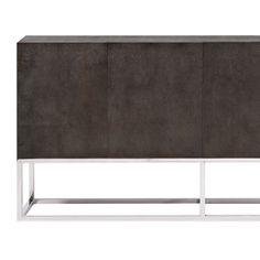 Bernhardt. Zigrino Entertainment Console Buffet, shagreen patterned leather, mirror-polished stainless steel.