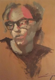 another self portrait I did a few years ago. Tempera on brown paper