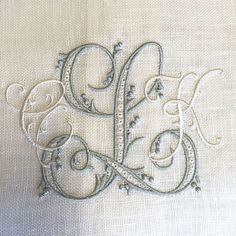 Gorgeous monograms from Bobbins Designs, Embroidery Monogram Fonts, Hand Embroidery Stitches, Ribbon Embroidery, Cross Stitch Embroidery, Machine Embroidery Designs, Embroidery Patterns, Monogrammed Napkins, Monogram Pillows, Monogram Letters