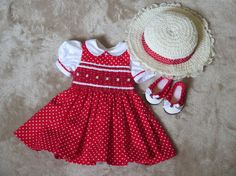 18 Inch Doll Red & White Polka-dot Smocked Dress, Shoes, Hat - AG Doll Clothes - Heirloom Smocking Doll Dress - American Girl Summer Outfit