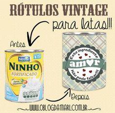 O blog da Mari: Rótulos retrô para decorar latas