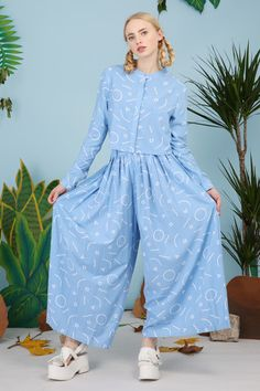 Pleat Culottes Graphic Print - THE WHITEPEPPER