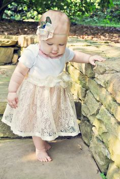 Shabby Chic Infant Lace Tutu Onesie Dress