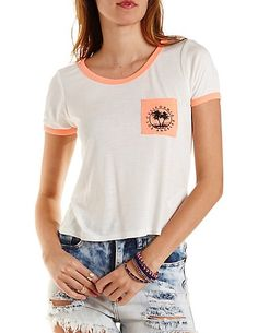 California Graphic Ringer Pocket Tee: Charlotte Russe #graphictee #spring