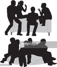 black silhouettes of three small groups of people standing and ...