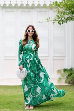 Green Leaf Print Maxi Dress