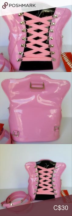 Demonia by Pleaser Fetish PVC Corset Backpack Demonia by Pleaser Pink & Black Fetish PVC Corset Backpack Approx: Tall Across Inside Zippered Pocket NWT Never Used Demonia by Pleaser Bags Backpacks Pvc Corset, Plus Fashion, Fashion Tips, Fashion Trends, Pink Black, Backpack Bags, Backpacks, Pocket, Best Deals