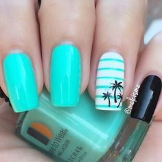 This summer, channel your inner tropical goddess with these tropical nail design. - This summer, channel your inner tropical goddess with these tropical nail designs. Everything from palm trees to colorful hues! Tropical Nail Designs, Nail Designs For Summer, Tropical Nail Art, Tropical Flower Nails, Style Tropical, Summer Design, Do It Yourself Nails, Palm Tree Nails, Nails With Palm Trees