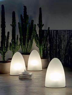 Piero De Longhi's Tibey indoor/outdoor floor #lamps with polyethylene shades by Cattelan Italia