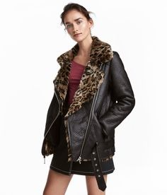 Check this out! Oversized biker jacket with a large collar, diagonal zip at front, and front pockets with zip. Removable belt at hem with metal buckle. Lined. - Visit hm.com to see more.