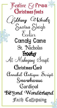 Doodles & Stitches: of July Free Printable & Free Fonts free Halloween printables Festive and Free Christmas Fonts Fancy Fonts, Cool Fonts, Awesome Fonts, Christmas Fonts, Christmas Crafts, Holiday Fonts, Christmas Typography, Christmas Quotes, Homemade Christmas