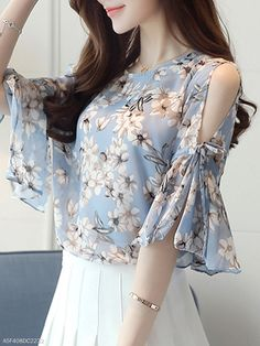 0243d73114090f Summer Chiffon Women Open Shoulder Printed Bell Sleeve Half Sleeve Blouses