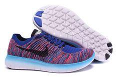 2016 Nike Free Rn Flyknit Women Shoes Purple Red/Blue/Black