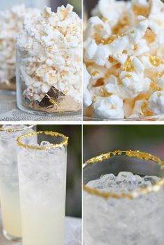 Love this idea! Use Edible Gold Stars for a Cocktail Rim or Popcorn Garnish