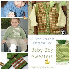 Free Crochet Pattern Link Blast: Baby Boy Sweaters | WIPs 'N Chains | 13 free crochet patterns