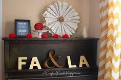 A Couple of Pounds, Christmas house tour, Christmas decor, vintage piano, sheet music wreath, chevron curtains, west elm, fa & La